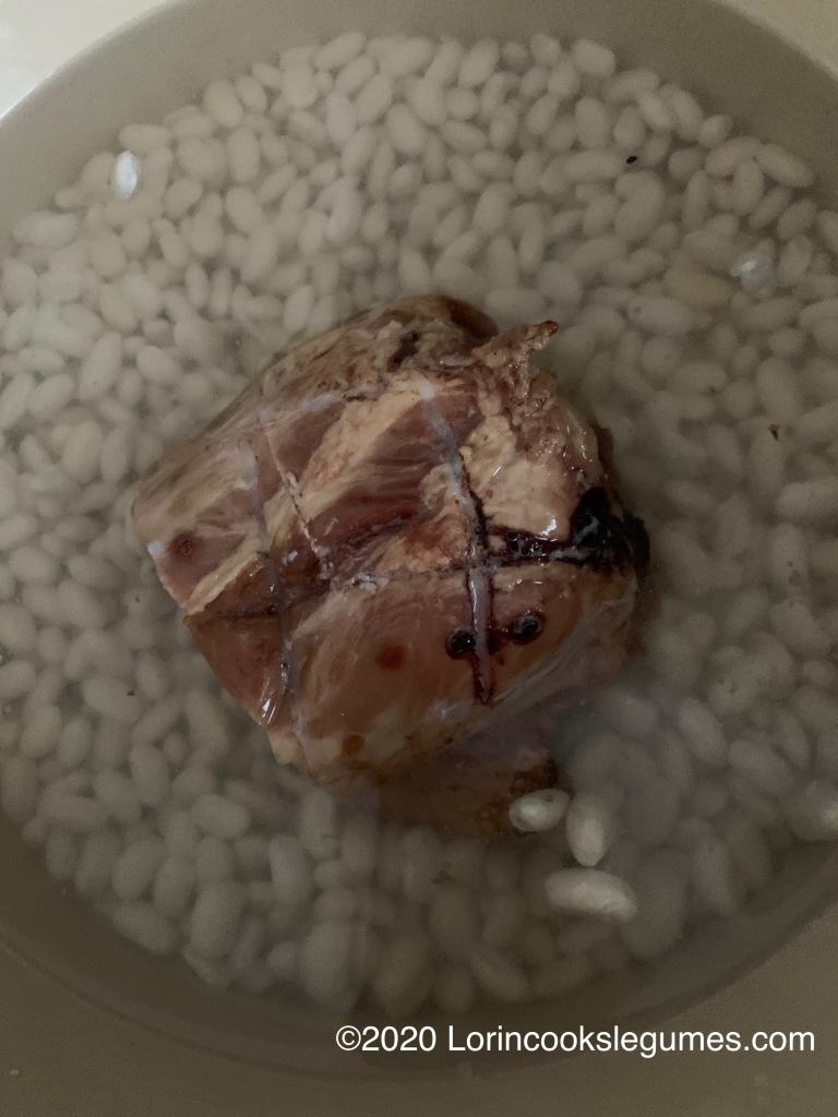 Boil beans with a ham bone.