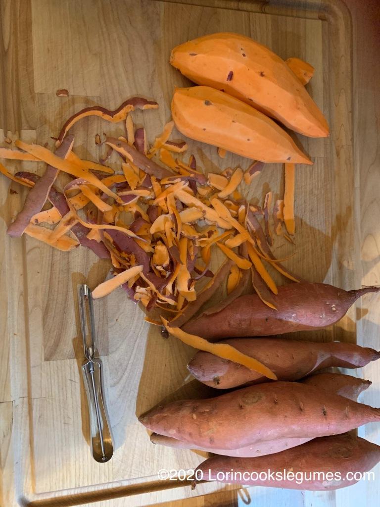 Peel your sweet potatoes,..