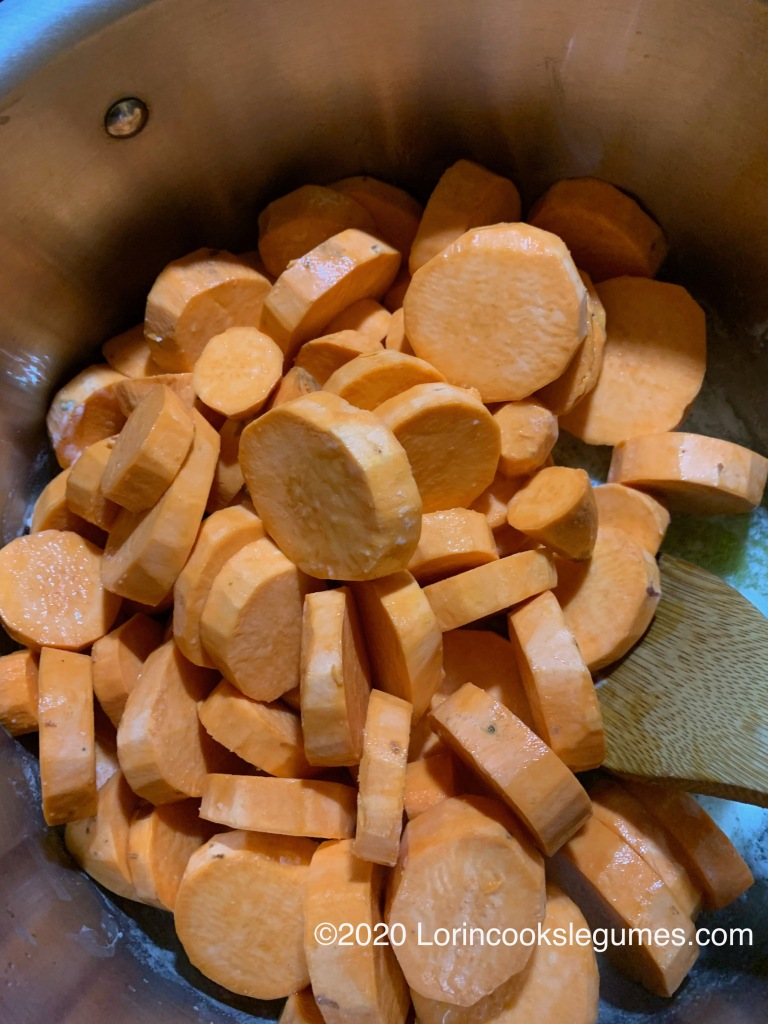 Coat sweet potatoes with melted butter,...