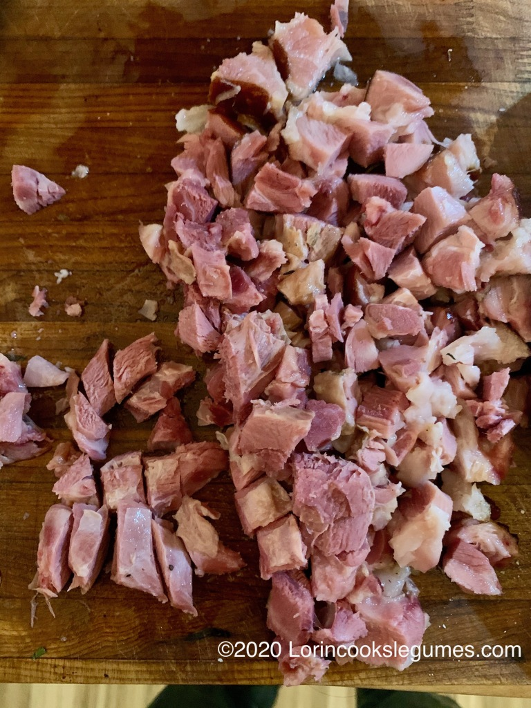 Chop meat from ham hock...